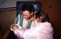Hanna first day w Dad n Em 2000