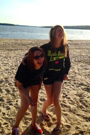 Em n Maddie beach2 - losin it